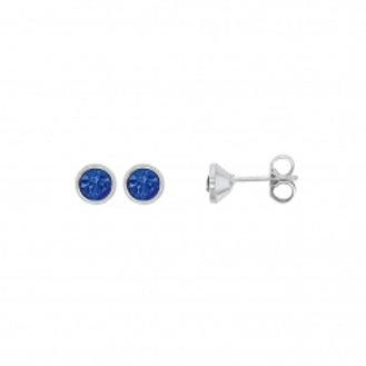 Boucle d'oreille en argent et cristal bleu 4 mm