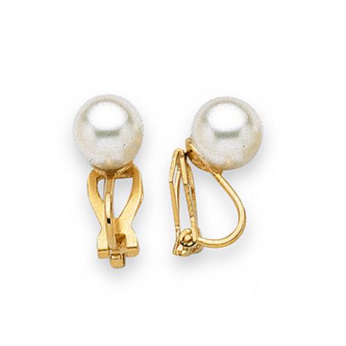 Clip en plaqué or 10 mm et perle de majorque