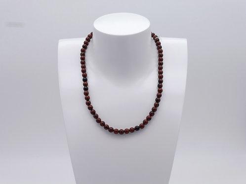 Collier en obsidienne mouchetée brune