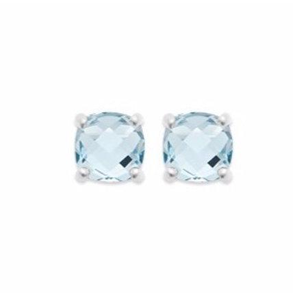 Boucles d'oreille en argent et cristal bleu clair