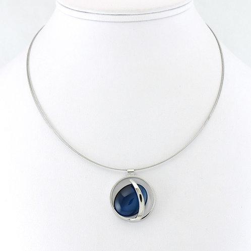 Collier avec pendentif ovale bleu