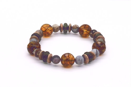 Bracelet en cristal de roche, jaspe picasso et hématite cuivrée
