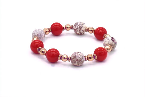 Bracelet en nacre rouge, turquoise américaine et hématite