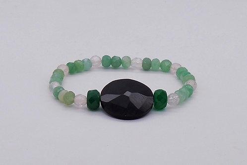 Bracelet en agate verte, cristal de roche et onix
