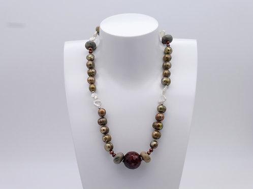 Collier en perles d'eau douce multicolores et agate