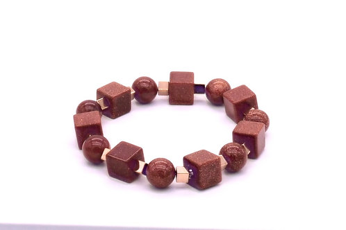 Bracelet en aventurine brune et hématite doré rose