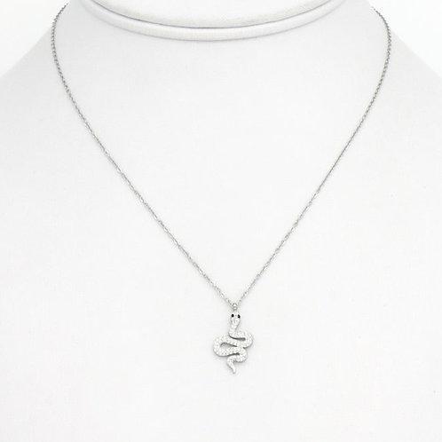 Collier en acier pendentif serpent