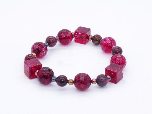 Bracelet en cristal de roche teinté, mokaite et hématite
