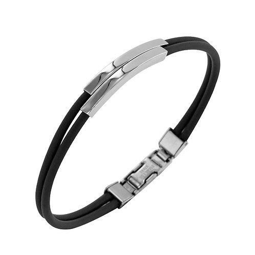 Bracelet en acier et caoutchouc homme