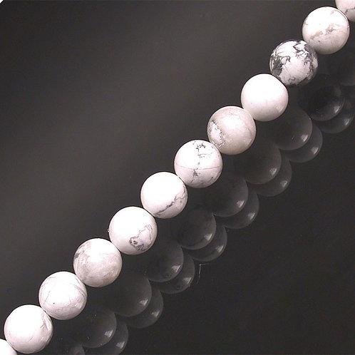 Bracelet en howlite blanc 8 mm