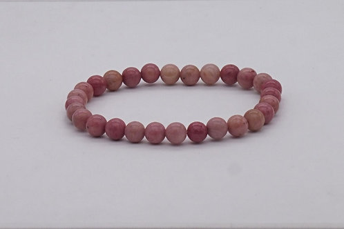 Bracelet en rhodonite rose 4 mm