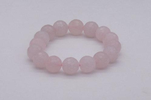 Bracelet en quartz rose 12 mm à facettes
