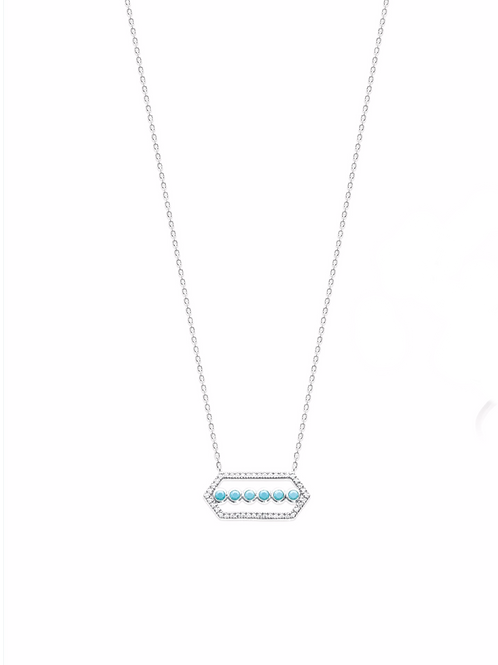 Collier en argent avec motif central couleur turquoise