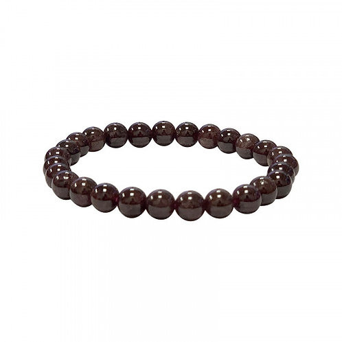 Bracelet en grenat rouge 10 mm