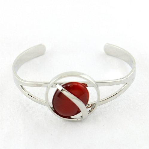 Bracelet Jonc Ouvert rouge