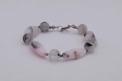 Bracelet en opale des andes et quartz à tourmaline
