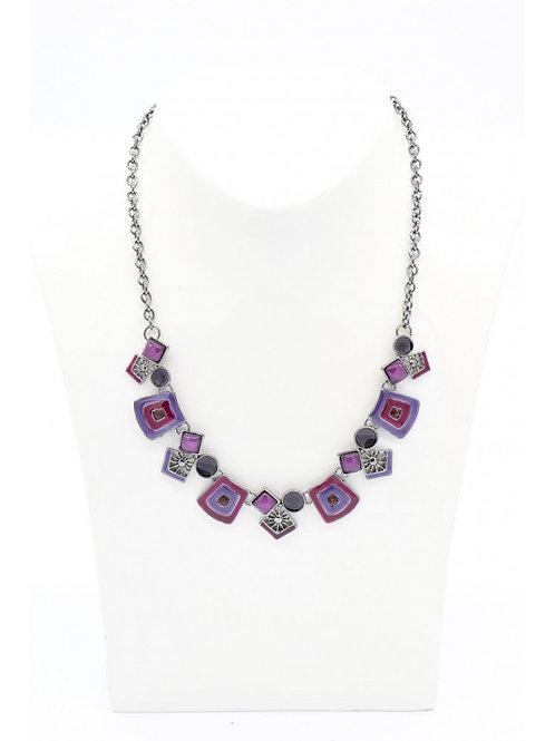Collier en émaux violet