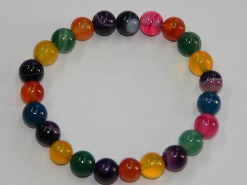 Bracelet enfant en agate multicolore