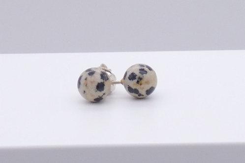 Boucle d'oreille en jaspe dalmatien