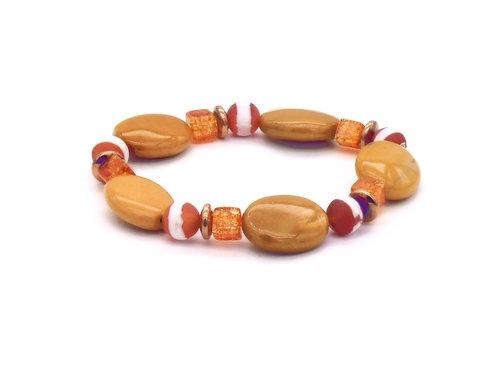 Bracelet en mokaite, agate, cristal de roche et hématite doré rose