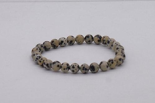 Bracelet en jaspe dalmatien 6 mm