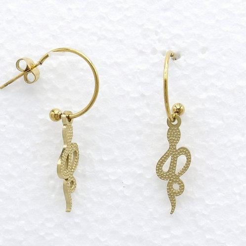 Boucles d'oreilles en acier motif serpent