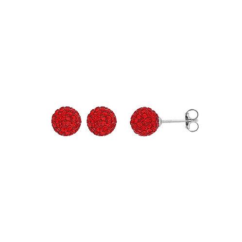 Boucle d'oreille en argent et cristal rouge 8 mm