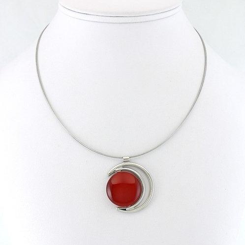 Collier avec pendentif Croissant de Lune Rouge
