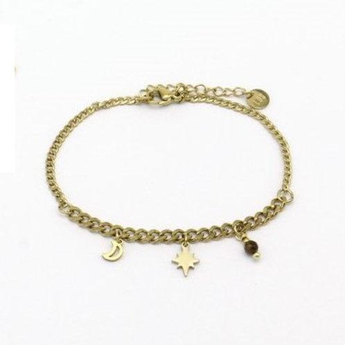 Bracelet en acier motif lune et étoile du nord