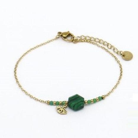 Bracelet en acier motif en pierre et oeil