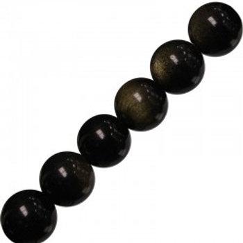 Bracelet en obsidienne dorée 6 mm