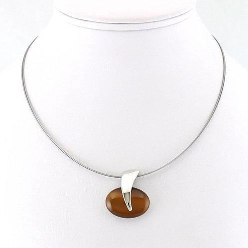Collier avec pendentif ovale brun