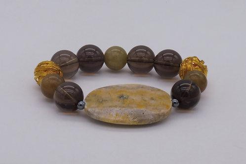 Bracelet en agate jaune quartz fumé et plaqué or