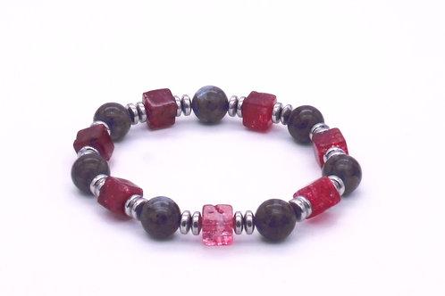 Bracelet en spectrolite, cristal de roche et hématite