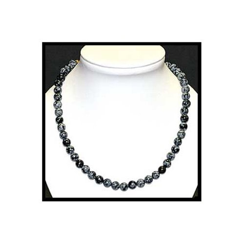 Collier en obsidienne mouchetée noire