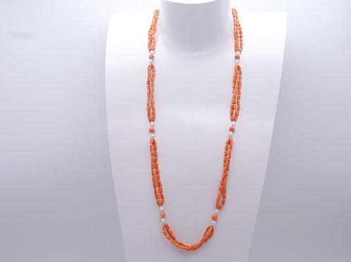 Collier en corail et perle d'eau douce