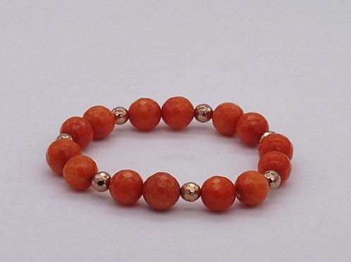Bracelet en agate orange et hématite doré rose
