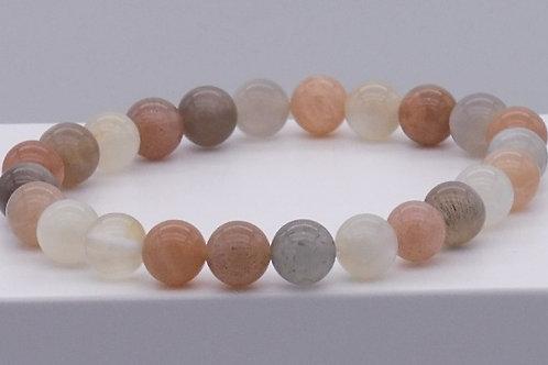 Bracelet en pierre de lune multicouleur 10 mm