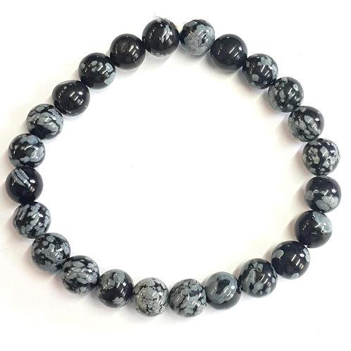 Bracelet en obsidienne mouchetée 8 mm