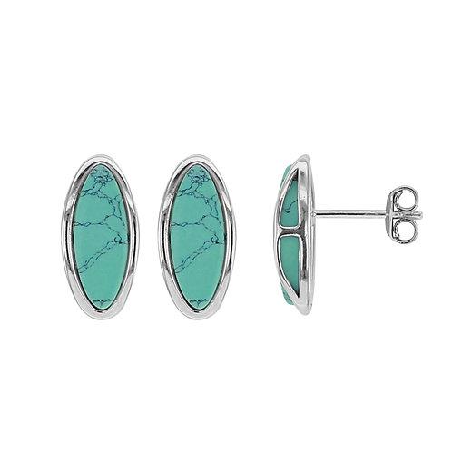 Boucles d'oreille en argent forme ovale