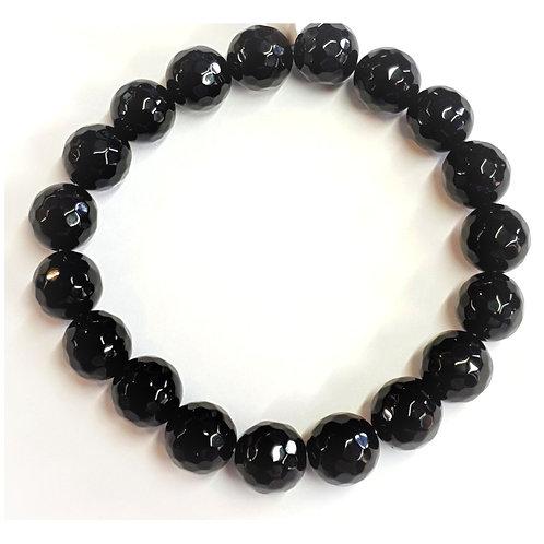 Bracelet en onyx noir 10 mm à facettes