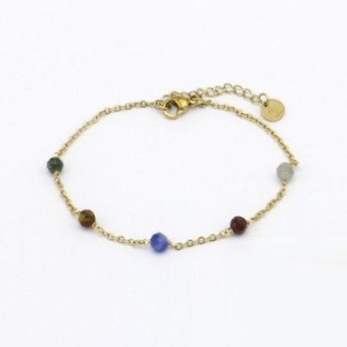 Bracelet en acier motif lune et pierres naturelles
