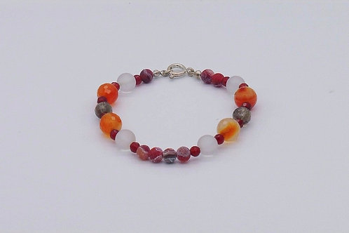 Bracelet  en agate, cristal de roche et quartz fumé