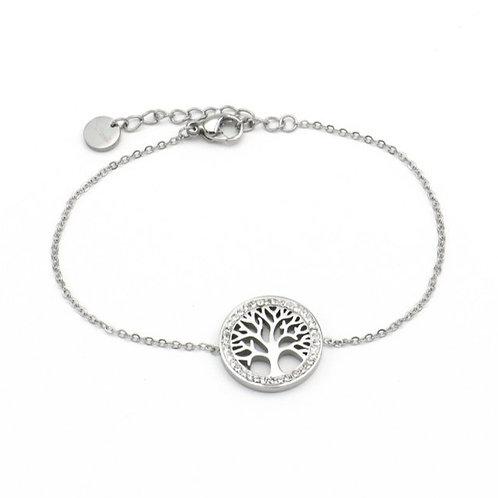 Bracelet en acier motif arbre