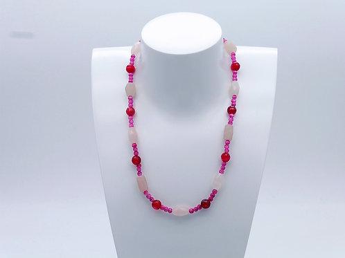 Collier en agate et quartz rose