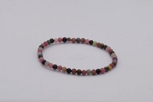 Bracelet en tourmaline rose et verte 4 mm