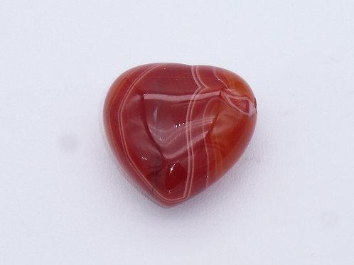 Pendentif coeur en agate rouge