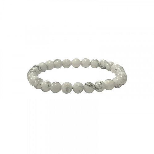 Bracelet en howlite blanc 6 mm