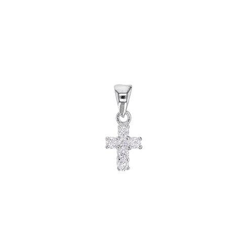 Pendentif en argent petite croix et oxyde de zirconium
