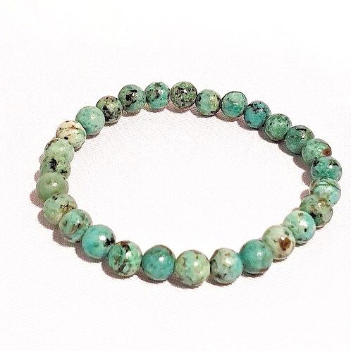 Bracelet en turquoise africaine 6 mm